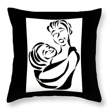 Throw Pillow featuring the mixed media Mother And Child by Delin Colon