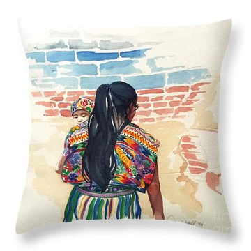 Mother And Child Throw Pillow by Donna Newsom