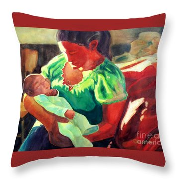 Throw Pillow featuring the painting Mother And Child In Red2 by Kathy Braud
