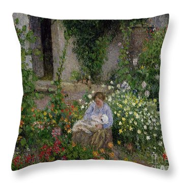 Mother And Child In The Flowers Throw Pillow by Camille Pissarro
