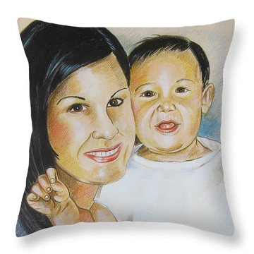 Mother And Child Throw Pillow by John Keaton