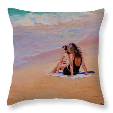 People On Beach Throw Pillows