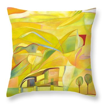Throw Pillow featuring the painting Mother And Child by Linda Cull
