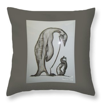 Mother And Child Penguins Throw Pillow