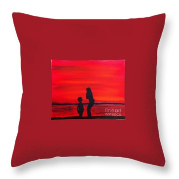 Mother And Child Throw Pillow by Rod Jellison