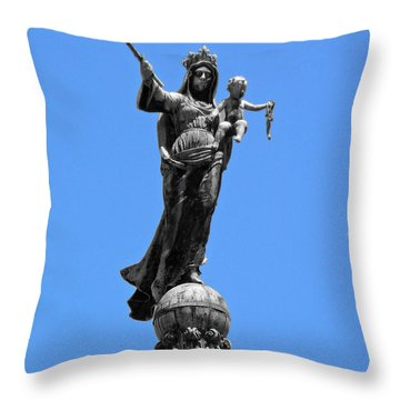 Mother And Child Rooftop Statue Throw Pillow
