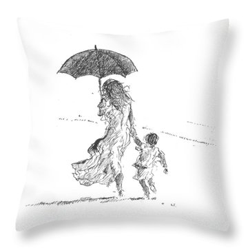 People On The Beach Throw Pillows