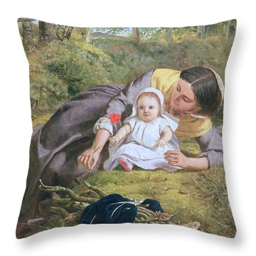 Mother And Child With A Poppy Throw Pillow by Frederick Richard Pickersgil