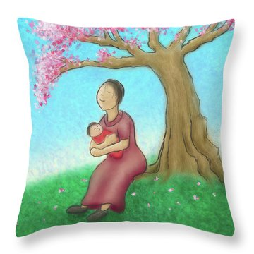 Mother And Child With Cherry Blossoms Throw Pillow