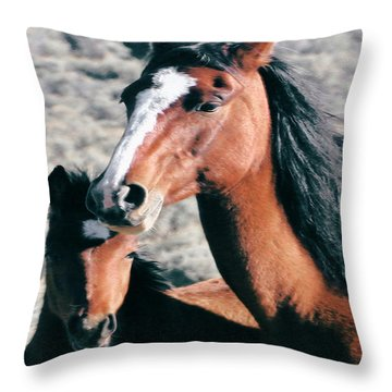 Mother And Colt Wild Throw Pillow