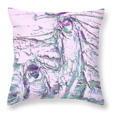 Mother And Daughter Against The Wind Throw Pillow
