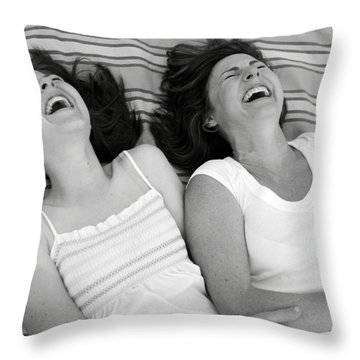 Mother And Daughter Laughing Throw Pillow by Michelle Quance