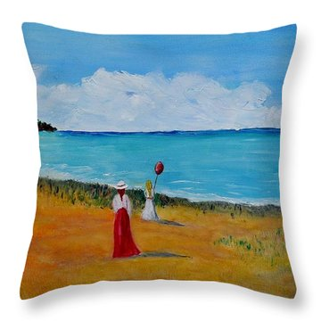 Throw Pillow featuring the painting Mother And Daughter by Marilyn  McNish