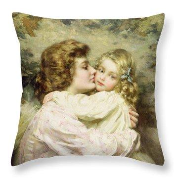 Mother And Daughter  Throw Pillow by Thomas Benjamin Kennington