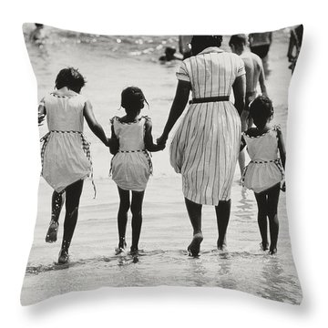 Mother And Four Daughters Entering Water At Coney Island Throw Pillow