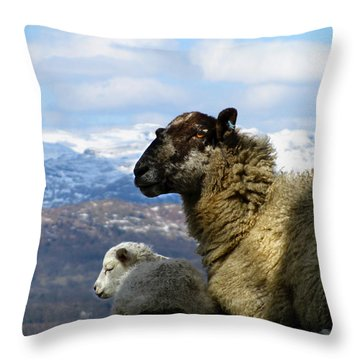 Mother And Lamb Throw Pillow by RKAB Works