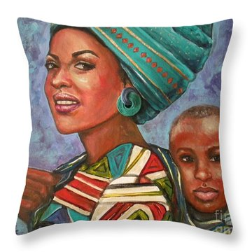 Mother And Son Throw Pillow