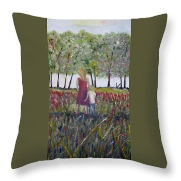 Throw Pillow featuring the painting Mother And Son by Marilyn  McNish