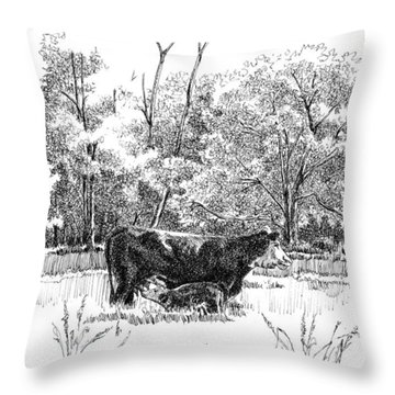 Mother And Son Throw Pillow by Peter Muzyka