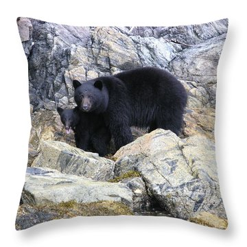 Mother Bear And Her Cub Throw Pillow