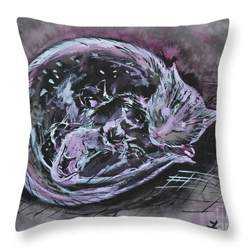 Throw Pillow featuring the painting Mother Cat With Kittens by Zaira Dzhaubaeva
