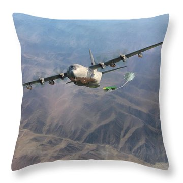 Throw Pillow featuring the digital art Mother Do You Think They Will Drop The Bomb by Peter Chilelli