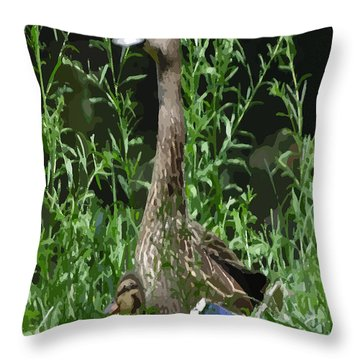 Mother Duck Dry Brush Throw Pillow by Garland Oldham