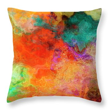 Mother Earth - Abstract Art - Triptych 2 Of 3 Throw Pillow