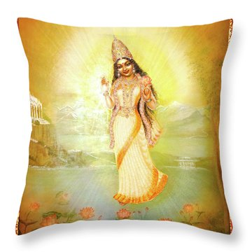 Mother Goddess Lalitha Throw Pillow by Ananda Vdovic