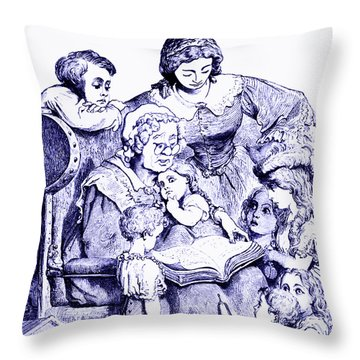 Mother Goose Reading To Children Throw Pillow by Marian Cates