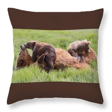 Mother Grizzly Suckling Twin Cubs Throw Pillow