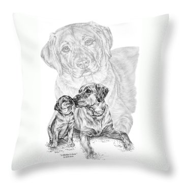 Mother Labrador Dog And Puppy Throw Pillow by Kelli Swan