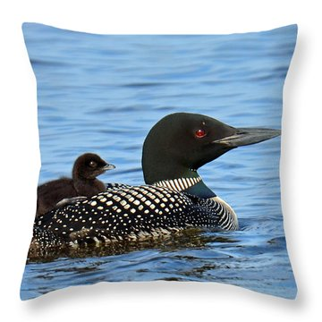 Mother Loon And Her Baby Throw Pillow