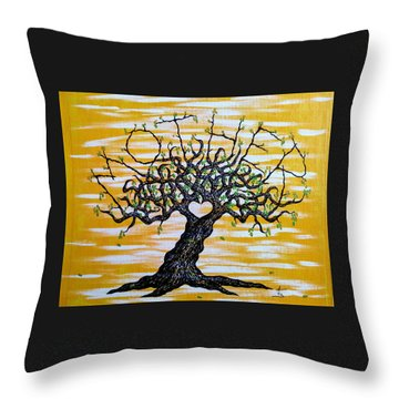 Throw Pillow featuring the drawing Mother Love Tree by Aaron Bombalicki