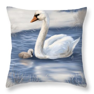Throw Pillow featuring the painting Mother Love by Veronica Minozzi