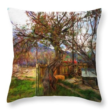 Throw Pillow featuring the painting Mother Nature Twirls by Teri D Brown