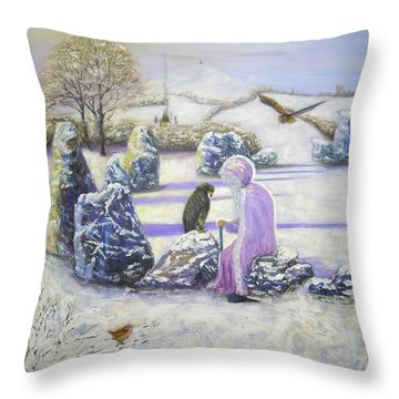 Mother Of Air Goddess Danu - Winter Solstice Throw Pillow