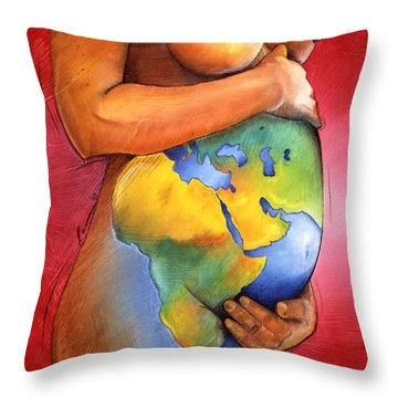 Mother Of All Colors Throw Pillow