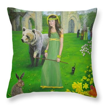 Mother Of Fire Goddess Artha - Spring Equinox Throw Pillow