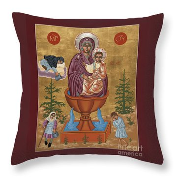 Throw Pillow featuring the painting Mother Of God Life Giving Spring 179 by William Hart McNichols