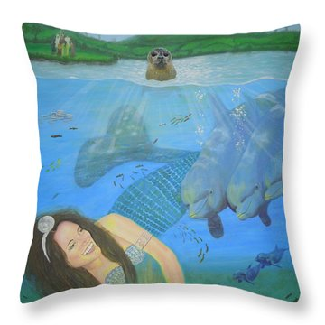 Mother Of Water Goddess Domnu - Summer Solstice Throw Pillow