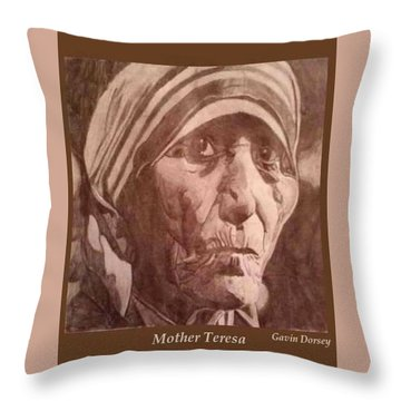 Mother Teresa  Throw Pillow by Gavin Dorsey