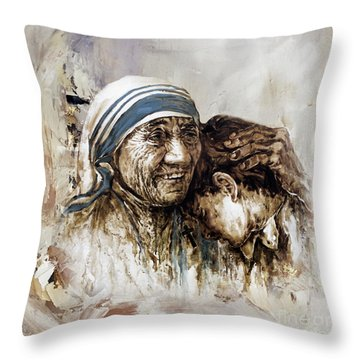 Throw Pillow featuring the painting Mother Teresa  by Gull G