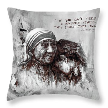 Throw Pillow featuring the painting Mother Teresa Of Calcutta Portrait  by Gull G