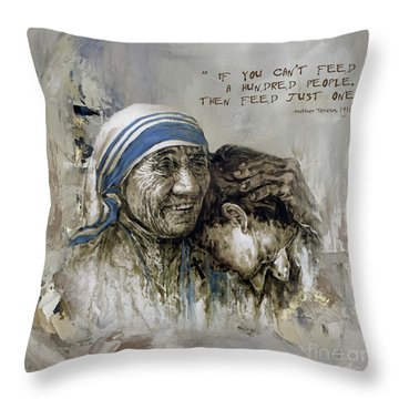 Throw Pillow featuring the painting Mother Teresa Portrait  by Gull G