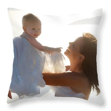 Mother With Baby In Pure Joy, Marin County, California Throw Pillow