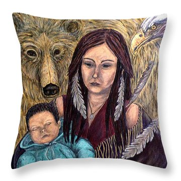 Motherhood-guardian Spirits Throw Pillow