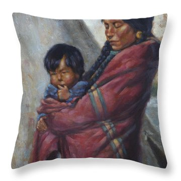 Motherhood Throw Pillow by Harvie Brown