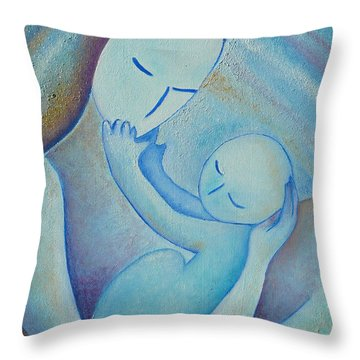 Motherhood Oil Painting Your Little Hands By Gioia Albano Throw Pillow by Gioia Albano