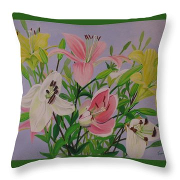 Throw Pillow featuring the painting Mother's Day Bouquet by Hilda and Jose Garrancho